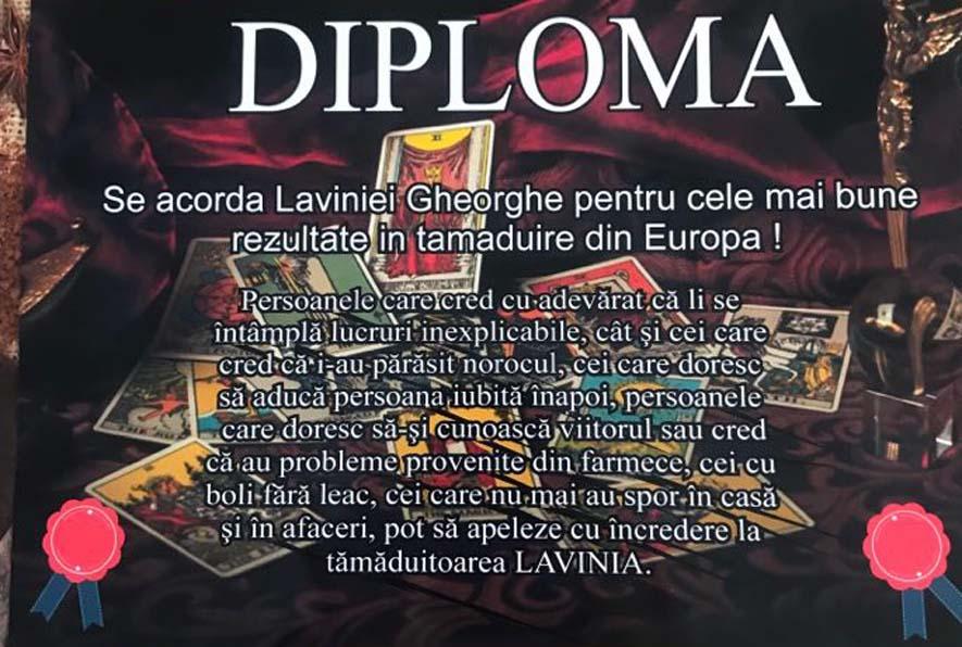 Tămăduitoarea Lavinia diploma